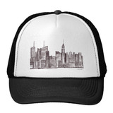 Gorra Trucker Camionero Acuarela De Manhattan New York City