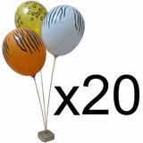 20 Suportes Enfeite Mesa 3 Balões Bolas Bexigas Tema Safári