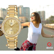 Reloj Q&q Mujer Pulsera Casual Acero Original Dorado Q Q