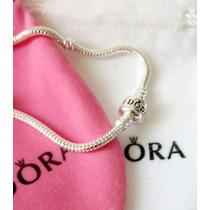 Pulseira Bracelete Tipo Pandora Prata + Berloque Brinde