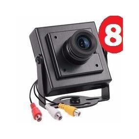 Kit C/ 8 Mini Câmera De Segurança Ccd Color Com Áudio Cftv