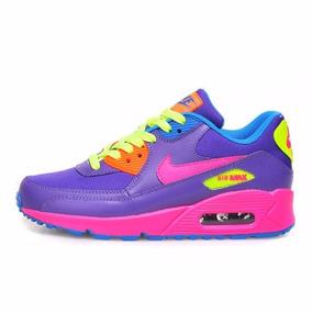 Tenis Nike Air Max 90 - Feminino Roxo/amarelo/rosa