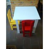 Mesa Infantil Com 2 Cadeira Em Mdf Pintado C/ Frete Gratis