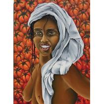 Cuadro Mujer Africana Negra Al Oleo S/ Bastidor De 50 X 70cm