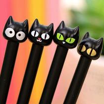 Lote 10 Lapiceros Forma Gato Negro Tinta Negra T2020
