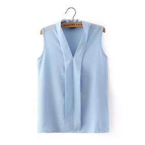 Camisa Blusa Feminina Sem Manga Social Chiffon Trabalho