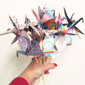 Souvenir Origami Toppers Grulla + Tag Personalizada