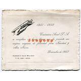 Tarjeta Saludo Navidad Y Año Nuevo Ceramica Azul 1957
