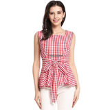 Nueva Mujer Casual Plaza Collar Sin Mangas Arco Red M