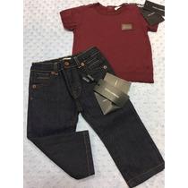 Conjunto Calça Jeans E Camiseta Dolce E Gabbana 9 A 12 Meses