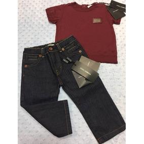 Calça Jeans E Camiseta Dolce E Gabbana 9 A 12 Meses Original