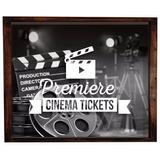 Quadro Box Porta Ingressos De Filmes E De Cinema 40x30