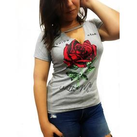 Blusa Blusinha Plus Size Exg Gola Choker Coleira Rosa Flor
