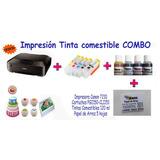 Impresión Comestible Combo Impresora, Cartuchos,tinta, Papel