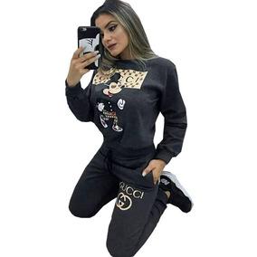 Conjunto Jacquard Mickey Moletom Feminino Inspired Gucci