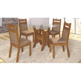 Mesa 4 Cadeiras Veneza C/ Tampo De Vidro