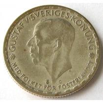 Moneda Suecia 1 Krona De Plata Año 1943 Rey Gustaf V