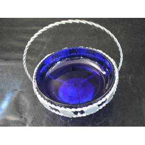 Antiga Grande Bomboniere Baleiro Cristal Azul Cobalto Suport