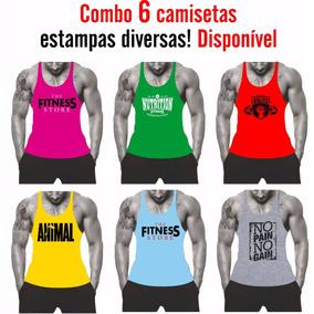 Kit 06 Camisetas Regata Fitness Super Cavada