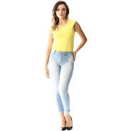 Calça Jeans Feminina Cropped Barra Dobrada - Sawary