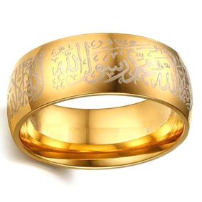 Anel Masculino Feminino Muçulmano Islâmico Aço Ouro 635