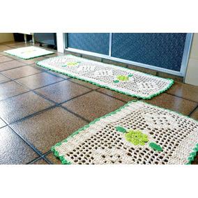 Conjunto Jogo De Cozinha Em Crochê Barbante Verde