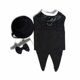 Diseño Del Perrito Arnés Negro Formal Del Smoking Del Perro