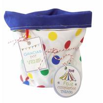 Souvenir Infantil Canastita Bolsa Tela Lunares Colores Circo