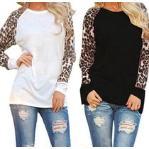 Remera Remeron Dama Informal Con Animal Print Promo Invierno