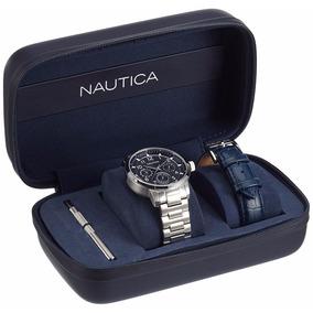Reloj Náutica Doble Nad18533g Plata/azul Caballero Original*