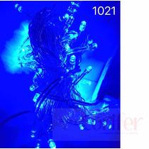 Pisca 100 Lâmpadas Led Fixo Azul C/ Fio Transparente