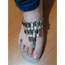 Sandália Rasteirinha Corello Dourada Com Pedrarias T37