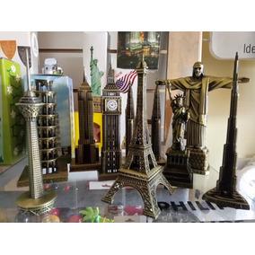 Set X9 Adornos Estatua Libertad Big Ben Pisa Coleccion Metal