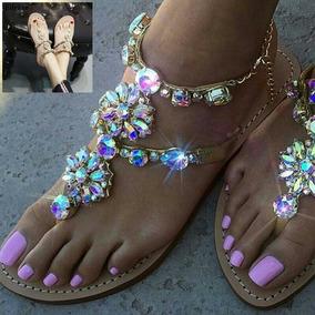 Sandalias De Mujer Importadas Con Piedras