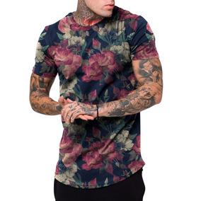 0d3896e62cae6 Camiseta Camisa Masculina Long Line Florido Floral Swag Top