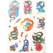 Kit Com 60 Tatuagens Temporárias Dragões Coloridos Tattoo N2