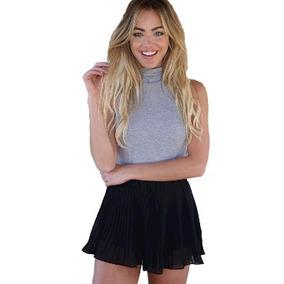 Shorts Plissado Tecido Chiffon Blogueiras Moda