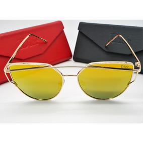Óculos Espelhado Feminino Dourado Gato Gatinho Metal Redondo. R  89 40 0f9076508a