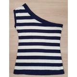 Blusa Alça De 1 Ombro Só, Listrada De Azul Marinho E Branco