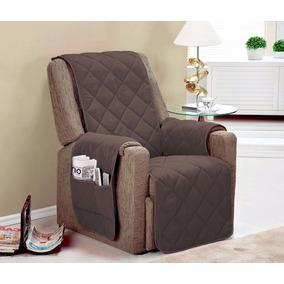 Protetor De Sofa 1 Lugar Poltrona Do Papai Microfibra Tabaco