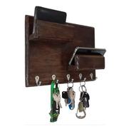 Porta Chaves De Parede P/ 5 Chaves Com 2 Prateleiras Rústico