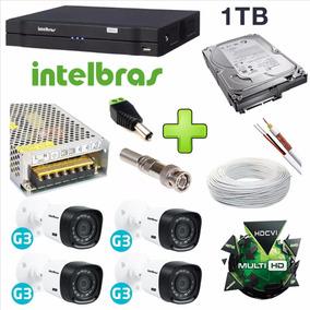Kit 4 Cameras Hdcvi Alta Definição Dvr Intelbras 1004 G3
