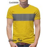 Camiseta Blusa Mostarda Com Listras No Peito