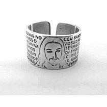 Anel De Prata Ajustavel Grande Pai Nosso Imagem Jesus #3r43