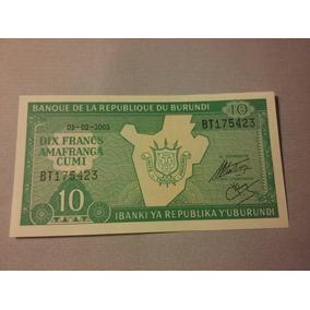 Billete De Burundi. 10 Dix Francs. Año 2005. S / C