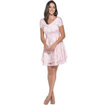Vestido Vestido Cetim Estampado Moda Evangélica Sem Juros