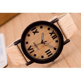 Relógio Unissex Original Da Marca Quartz Madeira Analógico