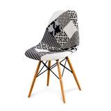 Silla Eames Patchwork Sin Posabrazos - Blanco Y Negro