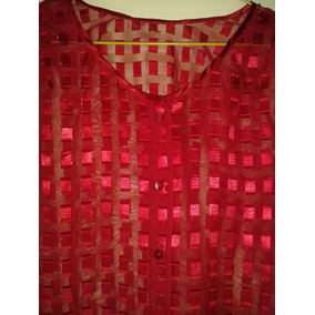 Blusa Dama Manga Larga Roja Chifon Vestir