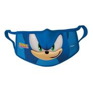 Máscara De Tecido Lavável Sonic Infantil Oficial 8-12 Anos